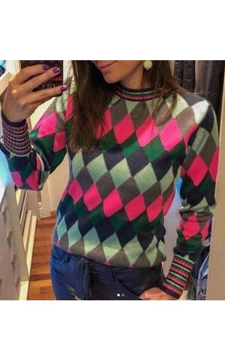 blusa tricot escocesa