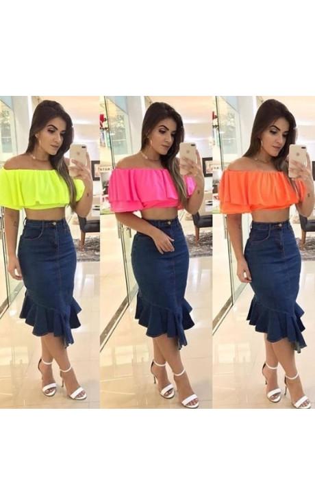 blusa ciganinha neon